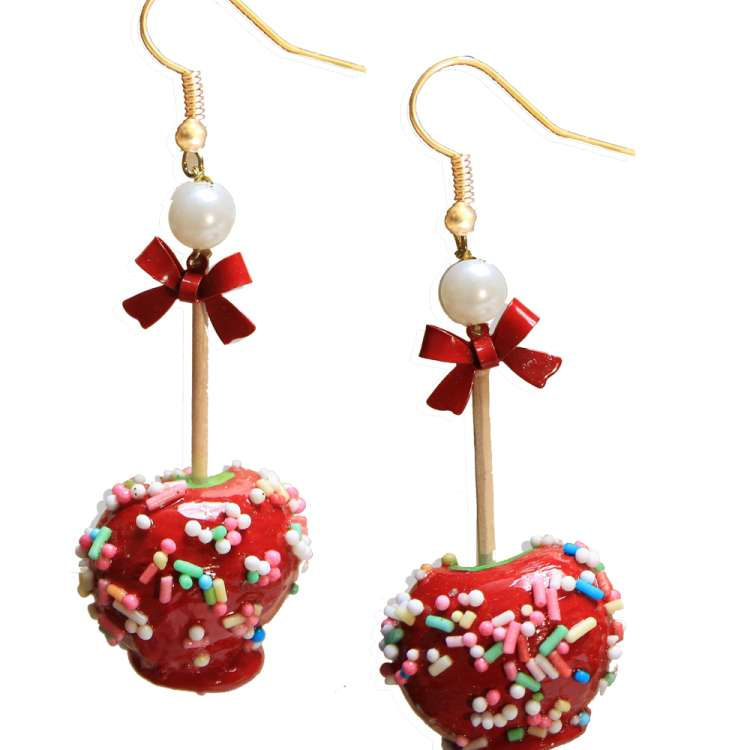 Candy apple - red rockabilly earrings with sugar pearls