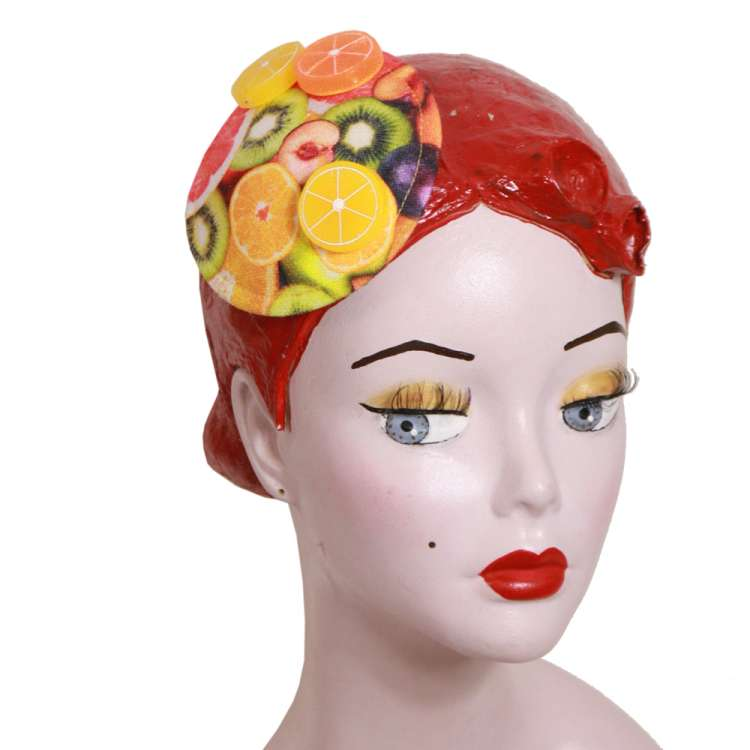 Fruity fascinator with lemons and oranges