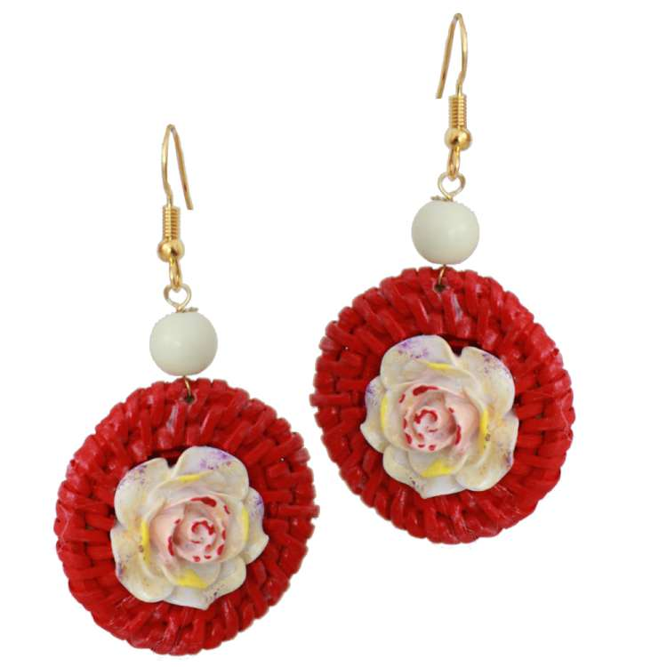Red Rattan ring and flower -  Vintage style earrings