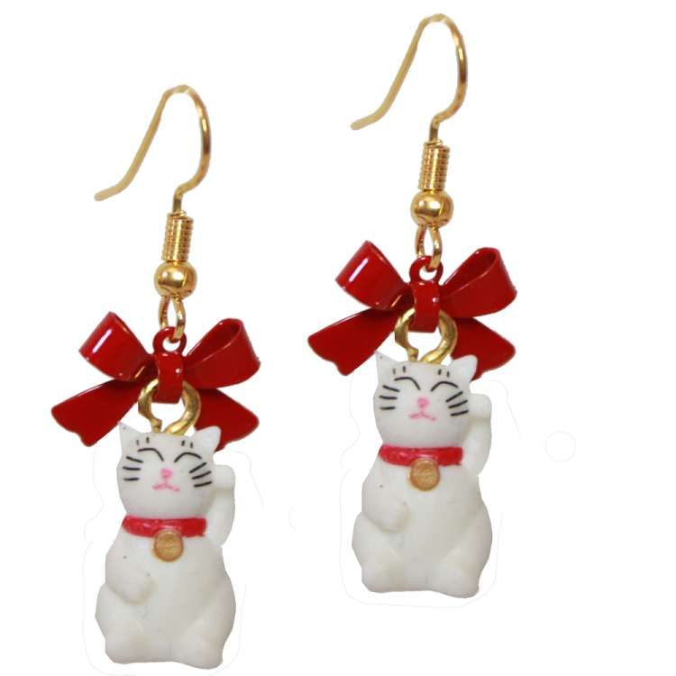 Earrings with white waving cat - Manekineko. The cat is considered a lucky charm and is a cute ear jewellery