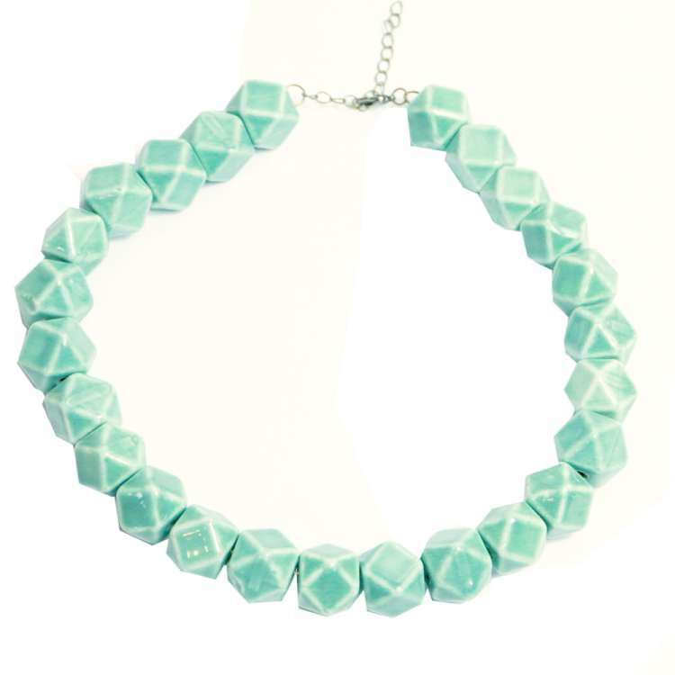 Mint green dice 'dodecahedron' necklace in vintage style