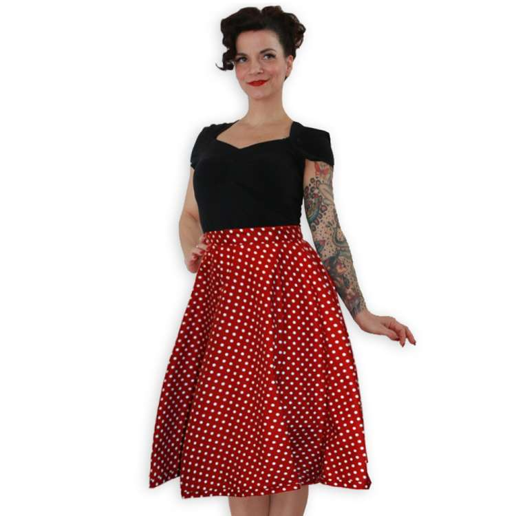 Polka Dots Red - swing skirt customer specifications