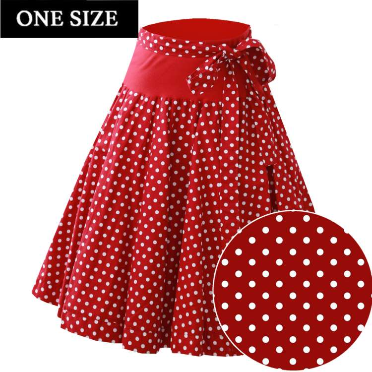 swing skirt red white polka dots rockabilly vintage