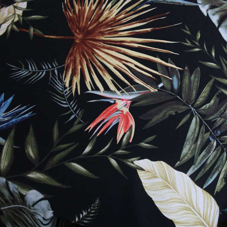 Tropical leaves black swing skirt one size