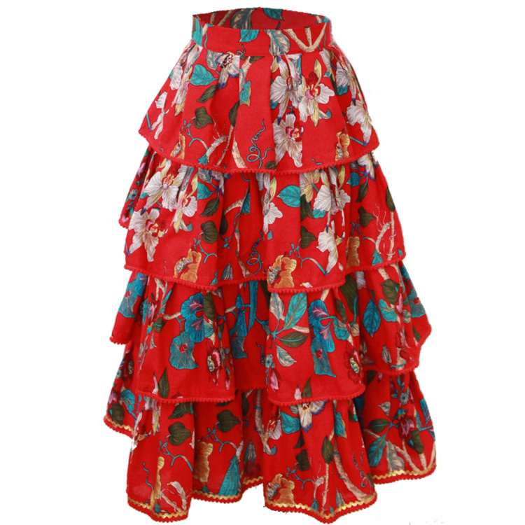 Carmen red layered skirt - customer specifications