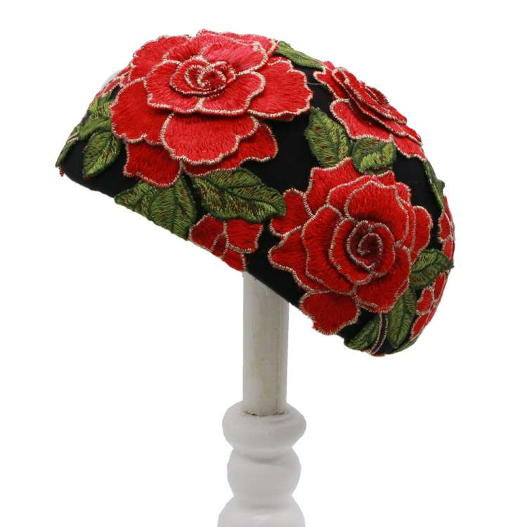 bandeau hat-black red flowers lace