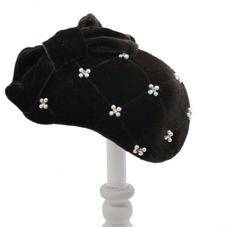 cocktail hat black vintage rhinestones