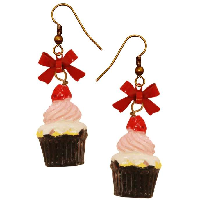 Earring Strawberrie Cupcake rockabilly red white