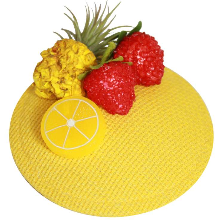 fascinator hat yellow pineapple strawberry vintage rockabilly