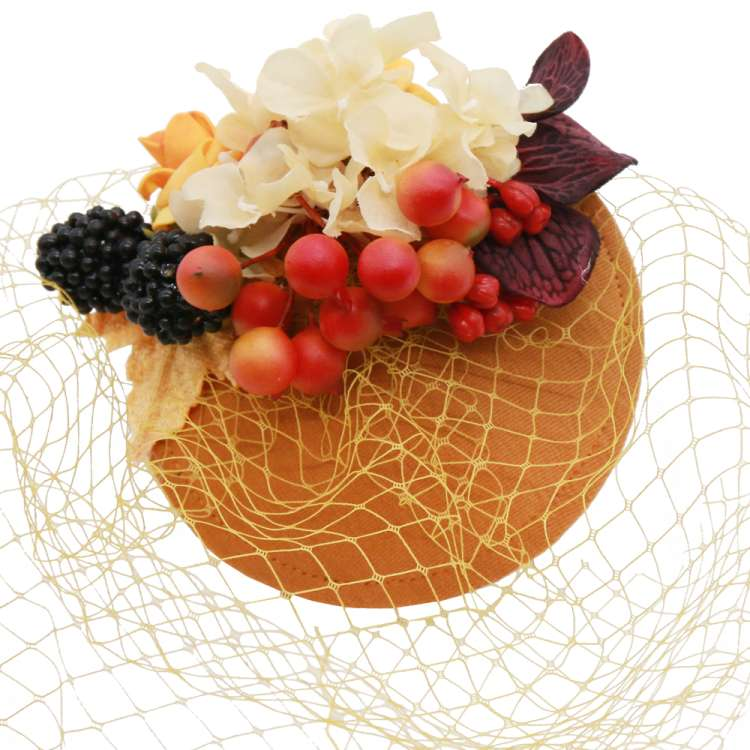 fascinator ochre veil berries vintage