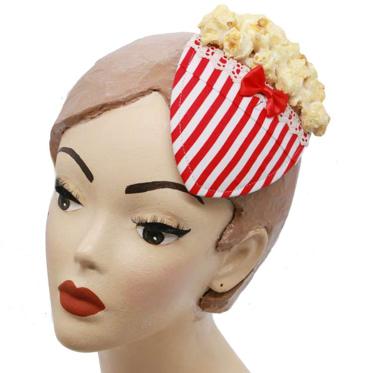 popcorn fascinator headpiece  rot weiss vintage rockabilly rot weiss
