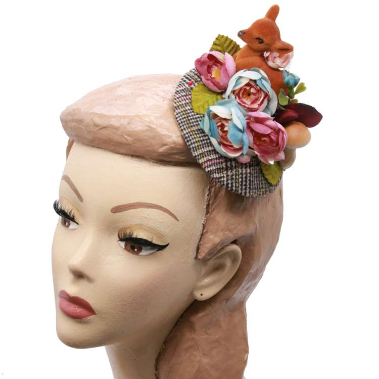 fascinator headpiece Herbst reh grün Blumen rockabilly vintage bambi