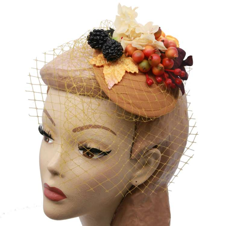 fascinator vintage mustard berries autumn