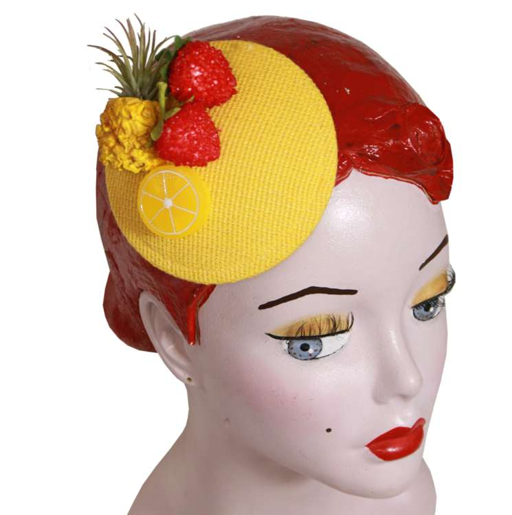 Fruits on yellow fascinator