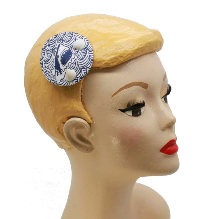 mini fascinator blau weiss Muschel Hai maritim fascinatotr vintage rockabilly