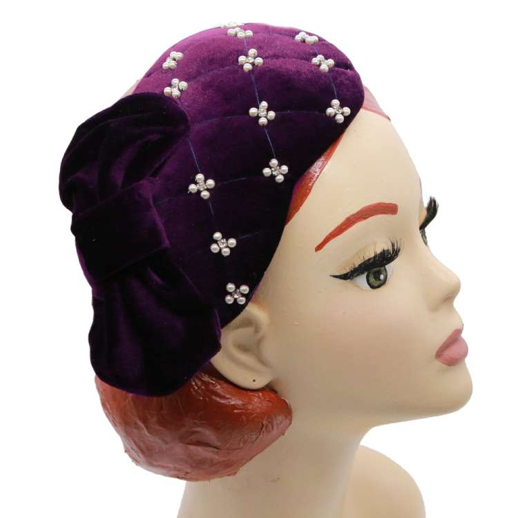 half hat velvet bow velvet purple