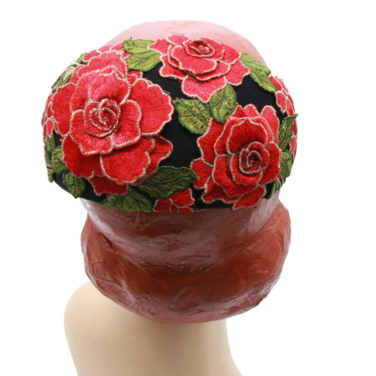 half hat red roses black red vintage