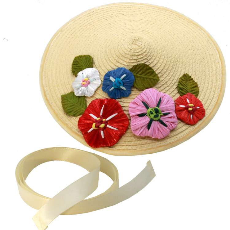Conical hat natural with colourful bast flowers