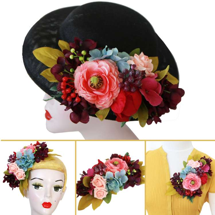 Black Hat with exchangeable mixed corsage flower - purple, petrol, pink