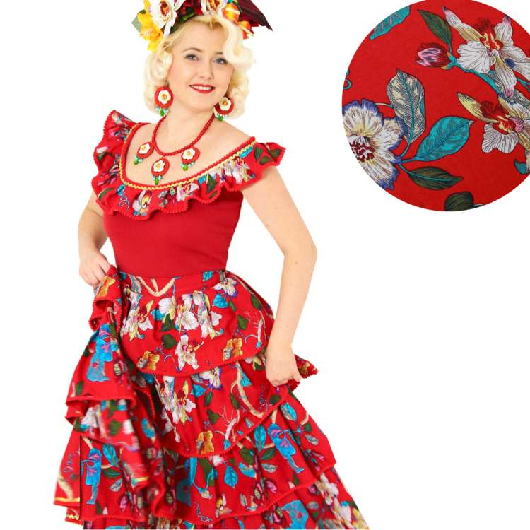 layered skirt red blossoms vintage carmen miranda rockabilly