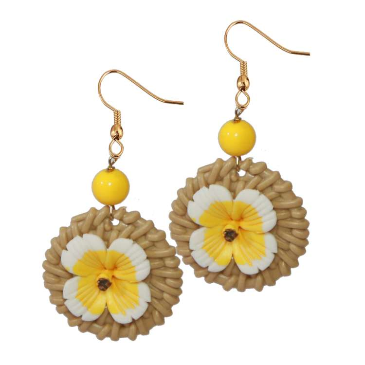 earrings vintage fake bakelit flower tiki earrings yellow