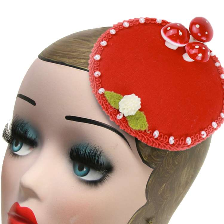 Fliegenpilz fascinator headpiece vintage rockabilly rot