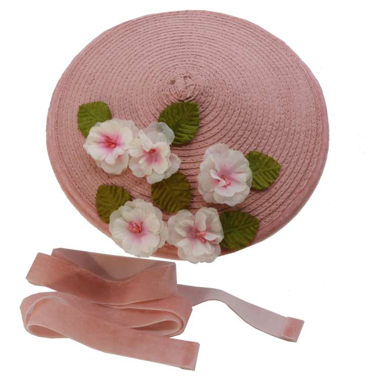 Pink Conical hat with light pink flowers