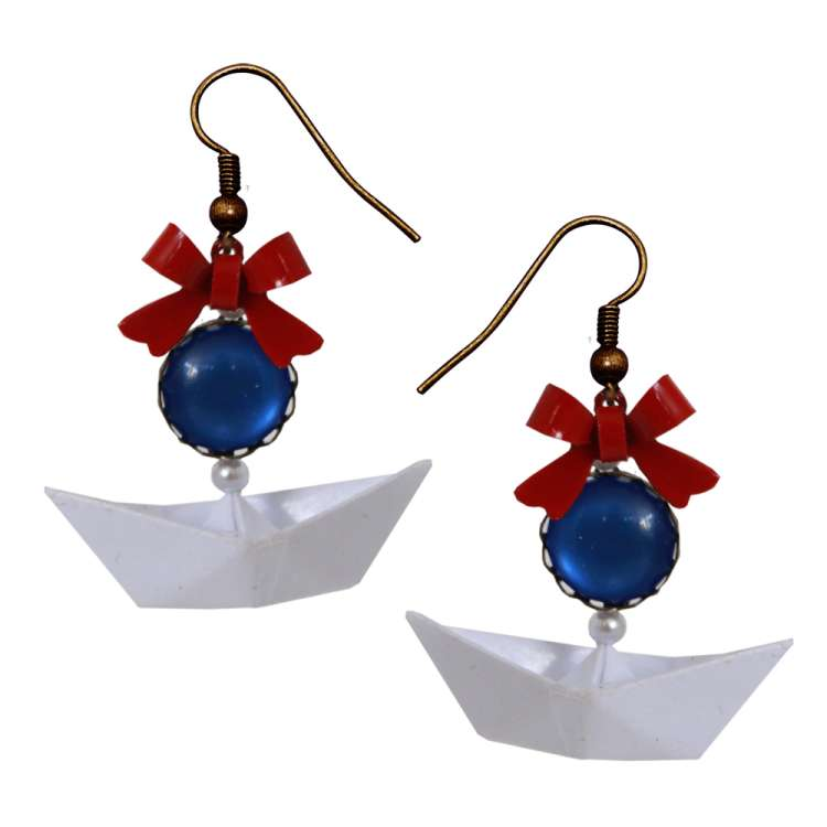 Paper ship - maritime earrings 'Ahoy' with bow red white blue rockabilly