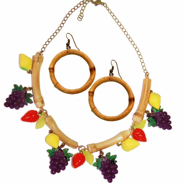 Bamboo and fruit - earrings & necklace