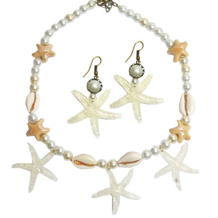 Set: White starfish - earrings & necklace