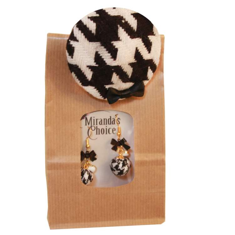 Houndstooth - Set with earrings and mini fascinator