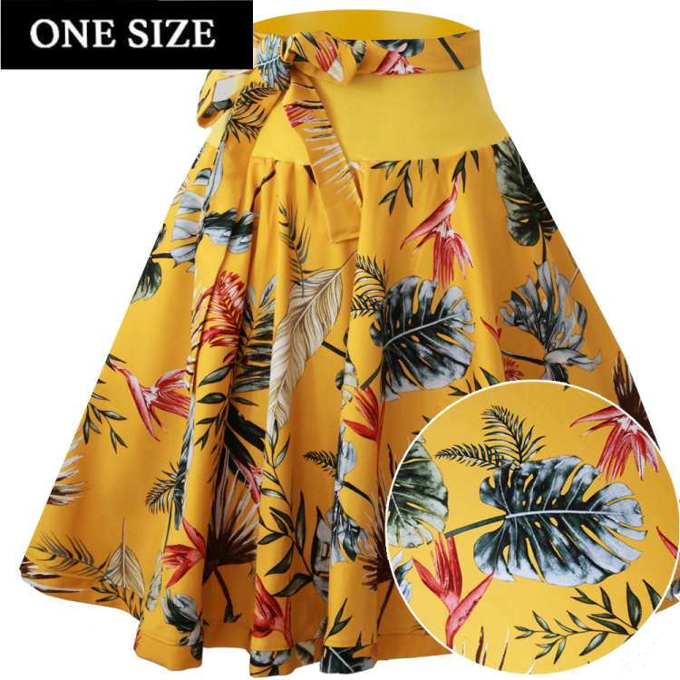 yellow tiki leaves circle skirt rockabilly vintage one size