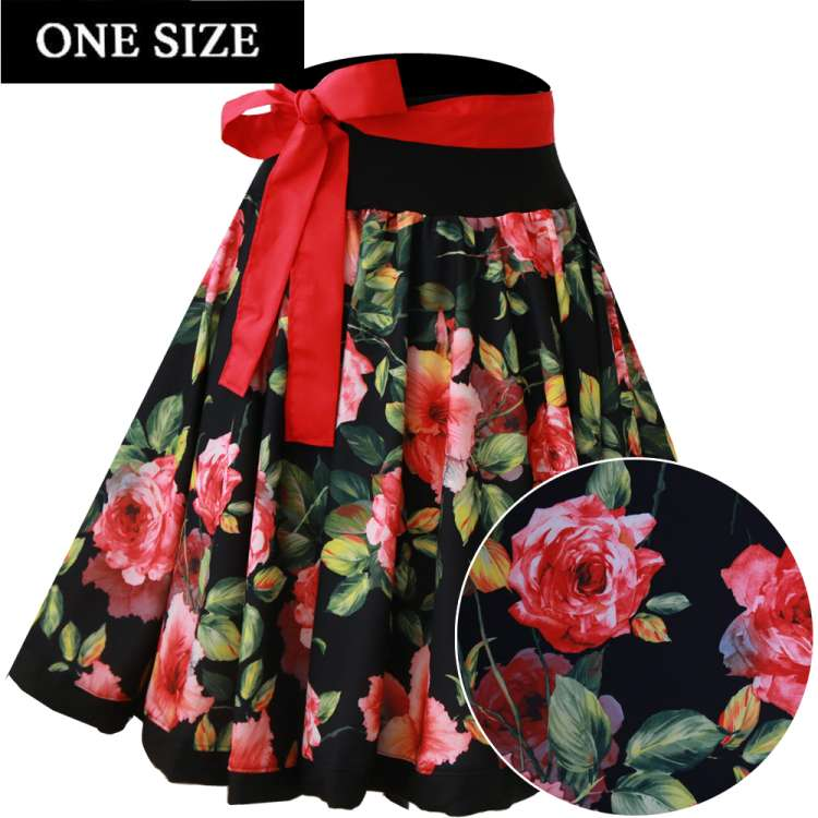 Rose blossoms on black circle skirt - one size