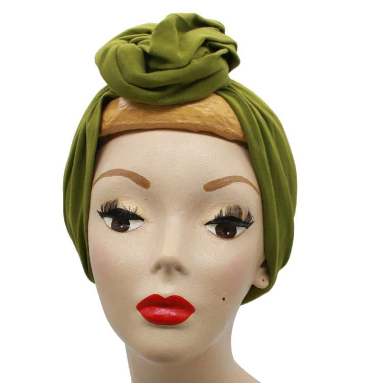Grass green turban - long hair band with wire