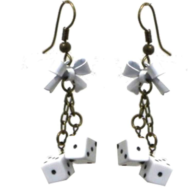 whites dices rockabilly earring