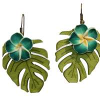 Earrings with dark green frangipani flowers on monstera leaf