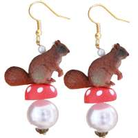 Squirrel on toadstool - earrings
