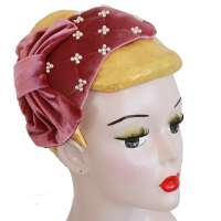 Pink Velvet Half Hat/ Fascinator with Beads & Bow