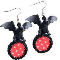 Earrings with Bat and Polka Dots Pendant