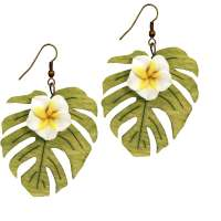 White Frangipani flower & Monstera leaf earrings