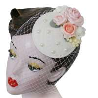 White Fascinator with Veil and Pastel Roses