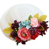 Light big Hat with mixed flowers in purple, petrol, pink to change