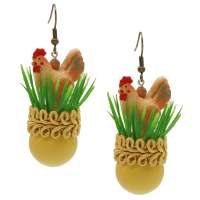 Earrings in Yellow with Chicken in Grass