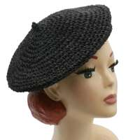Beret of raffia black - summer beanie