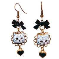 Earrings with cat head & hearts - like a glossy picture