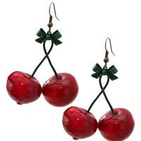 Earrings with red large cherry pair