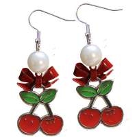 Earrings with small pair of cherries in silver/red
