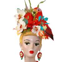 Carmens Paradies Headdress with Parrot and flowers.
