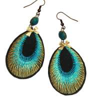 earrings golden petrol peacock feather