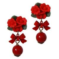 Earrings with roses & red pearl
